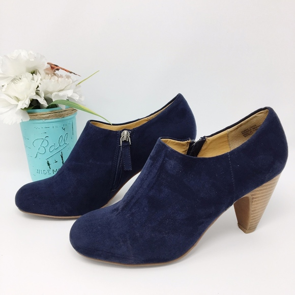 Crown Vintage Shoes - Crown Vintage Royal Blue Suede Ankle Booties Sz 9